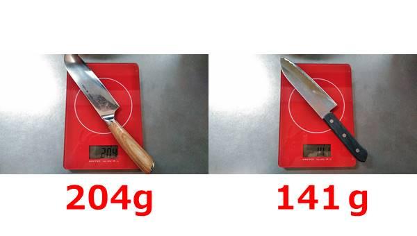 恵比寿刃の包丁はな(hana)の重さ比較