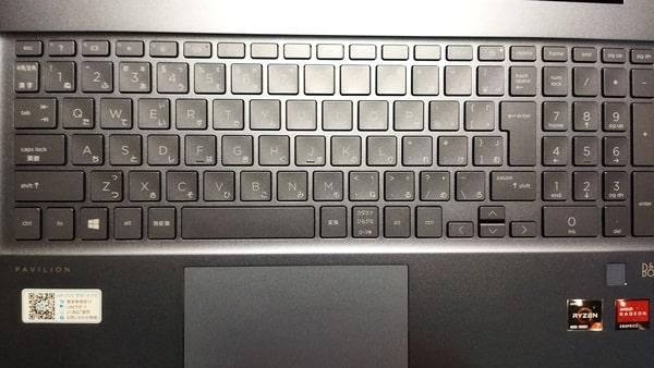 HPノートパソコンpavilion15キーボード